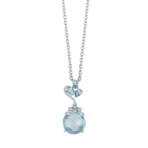 Lant aur 18K cu diamante si topaz albastru 0.22 G SI BT 7.49 - 6013000023195