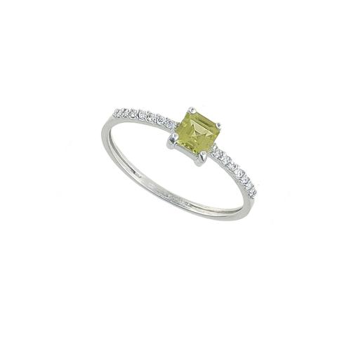 Inel aur 18K cu diamante si peridot 0.07 G VS2 PE 0.39 - 6090000087808