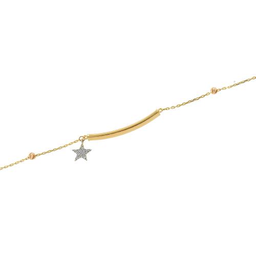 Bratara aur 14k  zirconiu placuta stea - 2921375015704