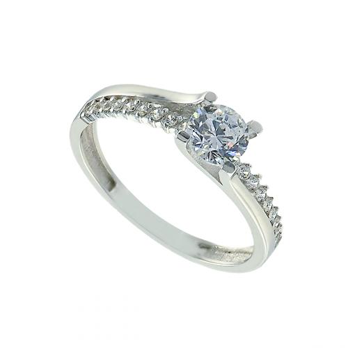Inel aur 14K zirconiu logodna cu pietre - 2900198015504