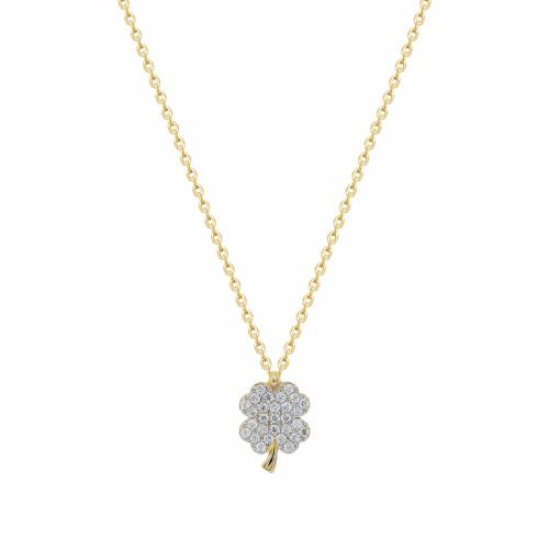 Lant aur 14k cu pandantiv trifoi pietre zirconiu - 2901519019904